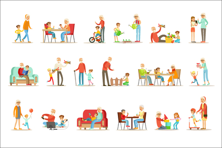 Illustration pour Grandfather And Grandmother Spending Time Playing With Grandchildren, Small Boys And Girls With Their Grandparents Vector Collection. Different Generations Of Family Enjoying Time Together Set Of Illustrations. - image libre de droit