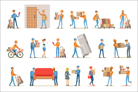 Illustration pour Different Delivery Service Workers And Clients, Smiling Couriers Delivering Packages And Movers Bringing Furniture Set Of Illustrations. Vector Cartoon Characters In Uniform Carrying Carton Boxes With A Smile. - image libre de droit