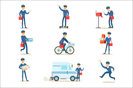 Illustration pour Postman In Blue Uniform With Red Bag Delivering Mail And Other Packages, Fulfilling Mailman Duties With A Smile Set Of Illustrations. - image libre de droit