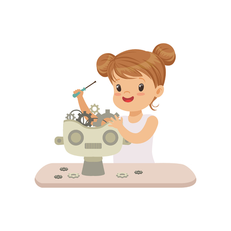 Ilustración de Lovely little gill creating smart robot, robotics and programming for kids, futuristic artificial intelligence vector Illustration isolated on a white background. - Imagen libre de derechos