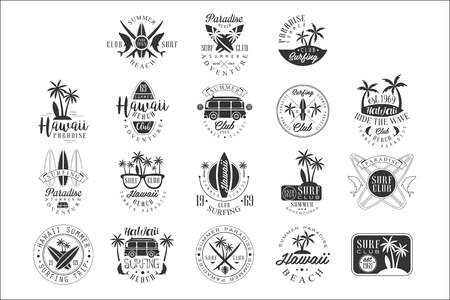 Illustration for Hawaiian Beach Surfing Vacation Black And White Sign Design Templates With Text And Tools Silhouettes - Royalty Free Image