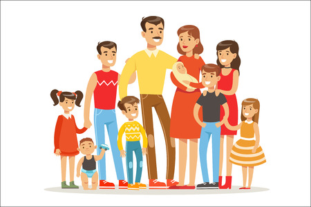Illustration for Happy Big Caucasian Family With Many Children Portrait With All The Kids And Babies And Tired Parents Colorful - Royalty Free Image