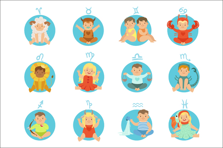 Illustration pour Babies In Twelve Zodiac Signs Costumes Sitting And Smiling Dressed As Horoscope Symbols - image libre de droit