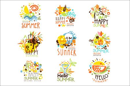 Illustration pour Happy Summer Vacation Sunny Colorful Graphic Design Template Set, Hand Drawn Vector Stencils - image libre de droit