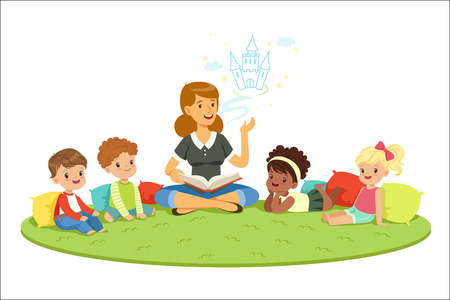 Ilustración de Elementary students and teacher. Children education and upbringing in the kindergarden. Cartoon detailed colorful Illustrations isolated on white background - Imagen libre de derechos