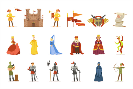 Illustration for Medieval Cartoon Characters And European Middle Ages Historic Period Attributes Set Of Icons - Royalty Free Image