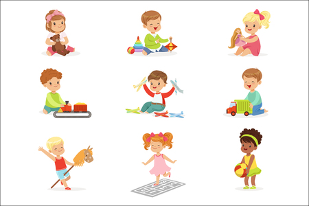 Illustration pour Cute Children Playing With Different Toys And Games Having Fun On Their Own Enjoying Childhood. Young Kids And Infants Game Time Vector Illustrations Set With Adorable Baby Characters. - image libre de droit