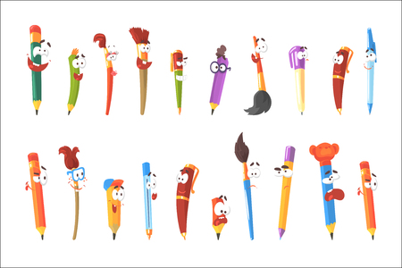 Illustration pour Smiling Pen, Pencils And Brushes, Set Of Animated Stationary Cartoon Characters Isolated Colorful Stickers. Writing And Drawing Tools Alive Funny Illustrations In Childish Bright Cool Style. - image libre de droit