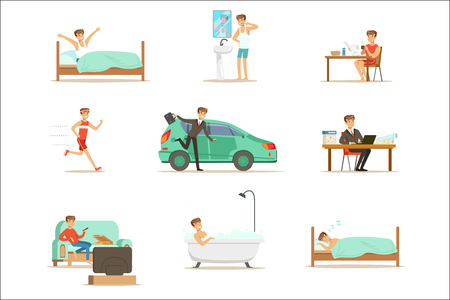 Ilustración de Modern Man Daily Routine From Morning To Evening Series Of Cartoon Illustrations With Happy Character. Normal Work Day Life Scenes Of Smiling Person From Waking Up To Going To Sleep - Imagen libre de derechos