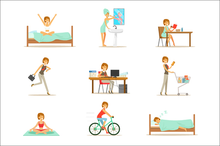 Ilustración de Modern Woman Daily Routine From Morning To Evening Series Of Cartoon Illustrations With Happy Character. Normal Work Day Life Scenes Of Smiling Person From Waking Up To Going To Sleep. - Imagen libre de derechos