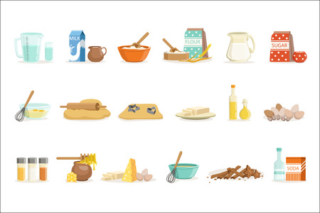Baking Ingredients And Kitchen Tools And Utensils Set Of Realistic Cartoon Vector Illustrations With Cooking Related Objects. Kitchen Equipment And Farm Fresh Products For Bakery Needs Series Of Colorful Icons.