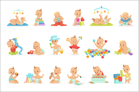 Foto de Adorable Girly Cartoon Babies Playing With Their Stuffed Toys And Development Tools Set Of Cute Happy Infants. Sweet Small Kids In Nappies Having Fun And Playing Games Vector Illustrations. - Imagen libre de derechos