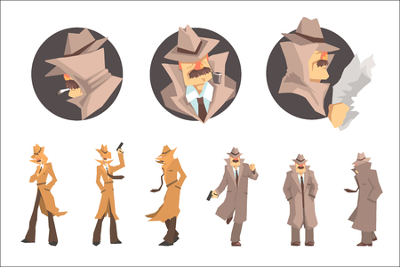 Illustration pour Police Detective And Private Investigator At Work Investigating And Solving Crimes Set Of Undercover Portraits. Professional Sleuth In Long Coat And Hat Cartoon Character Searching For Clues. - image libre de droit