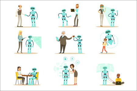 Illustration pour Smiling People And Robot Assistant, Set Of Characters And Service Android Companion - image libre de droit