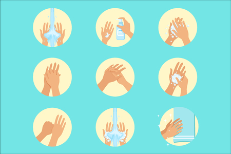 Illustration pour Hands Washing Sequence Instruction, Infographic Hygiene Poster For Proper Hand Wash Procedures. Info Illustration How To Clean Palms In Hygienic Way Series Of Vector Icons. - image libre de droit