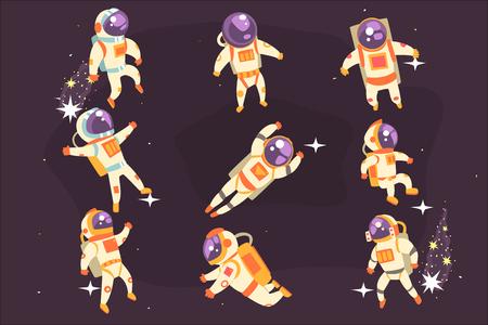 Ilustración de Astronaut Space Suit Floating In Open Space Different Positions Set Of Illustrations, Spaceman Flying In Pressure Suit And Helmet With Dark Sky On Background. - Imagen libre de derechos