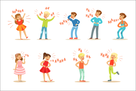 Kids Hysterically Laughing Out Loud Set Of Cartoon Characters With Laughter And Giggle Spelled In Text. Vector Illustrations With People Smiling And Having Fun With Hahaha Text.