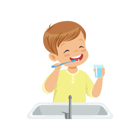 Ilustración de Boy brushing his teeth and rinsing with water, kid caring for teeth in bathroom vector Illustration isolated on a white background. - Imagen libre de derechos