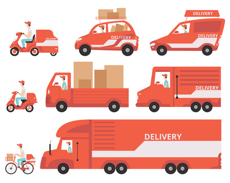 Illustration pour Red delivery vehicles set, express delivery concept vector Illustrations isolated on a white background. - image libre de droit