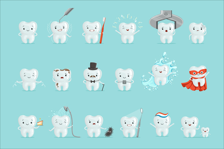 Illustration pour Cute teeth with different emotions set for label design. Dental medicine, children dentistry, mouth hygiene. Cartoon detailed Illustrations isolated on white background - image libre de droit