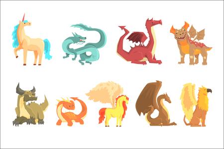 Mythological animals, set for label design. Dragon, unicorn, pegasus, griffin, cartoon detailed Illustrations isolated on white background