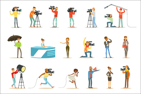 Illustration pour News Program Crew Of Professional Cameramen And Journalists Creating TV Broadcast Of Live Television Set Of Cartoon Characters. People Working In TV Production Shooting Journalistic Materials And Reportages Series Of Vector Scenes. - image libre de droit