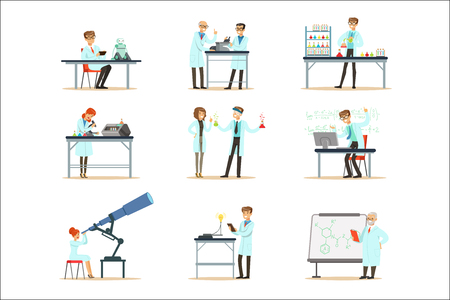 Illustration for Scientists At Work In A Lab And An Office Set Of Smiling People Working In Academic Science Doing Scientific Research. Men And Women In White Lab Coats Running Experiments In Laboratory Vector Illustrations. - Royalty Free Image