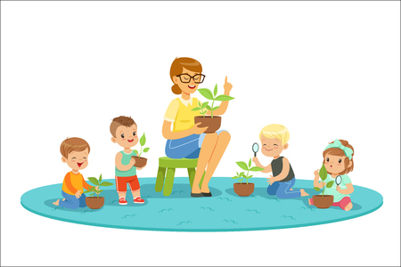 Illustration pour Biology lesson in kindergarten, children looking at plant seedlings. Preschool environmental education concept. Cartoon detailed colorful Illustrations isolated on white background - image libre de droit