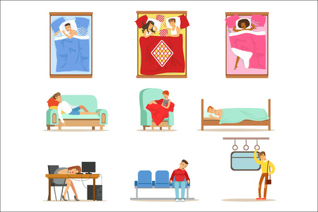 Ilustración de People Sleeping In Different Positions At Home And At Work, Tired Characters Getting To Sleep Series Of Illustrations. Man And Women Taking A Nap Wherever They Can Resting And Feeling Relaxed. - Imagen libre de derechos