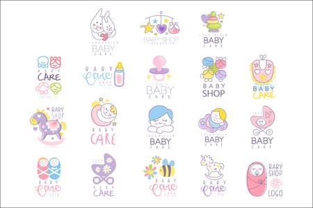 Illustration pour Baby care set for logo design, hand drawn vector Illustrations - image libre de droit