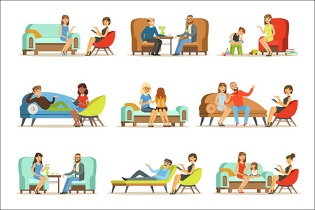 Ilustración de People talking to psychologist. Patients at a reception at the psychotherapies. Psychotherapy counseling, colorful Illustrations isolated on white background - Imagen libre de derechos