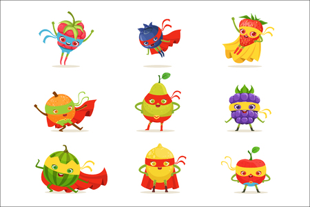 Illustration pour Superhero Fruits In Masks And Capes Set Of Cute Childish Cartoon Humanized Characters In Costumes - image libre de droit