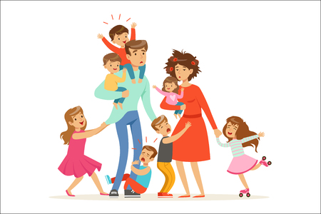 Illustration for Large family with many children. Kids, babies and their tired parents vector Illustration isolated on a white background - Royalty Free Image