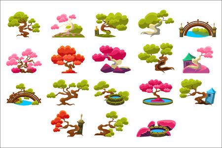 Ilustración de Japanese Style Trees Set Of Isolated Bright Color Simplified Traditional Style Vector Images On Dark Background - Imagen libre de derechos