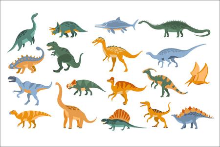 Illustration pour Jurassic Period Dinosaurs Set Flat Simplified Cartoon Style Bright Color Vector Illustration On White Background. - image libre de droit