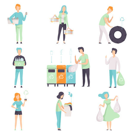 Illustration pour People gathering, sorting waste for recycling set, young men and women collecting plastic, glass, rubber, paper, organic waste to protect the environment vector Illustrations isolated on a white background. - image libre de droit