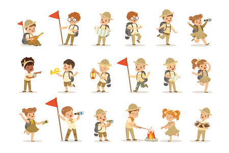 Set of girls and boys in scout khaki costumes. Scouts in action. Cheerful kids exploring map, getting wood for the fire and cooking sausages. Summer children s camp. Vector illustration isolated