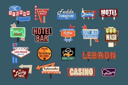 Neon signboards, billboards, light boxes and banners set of vector Illustrations, American advertisement style