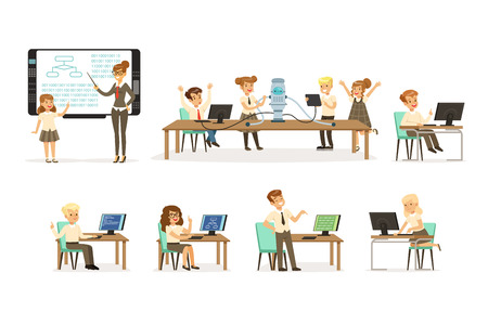 Illustration pour School children at the informatics and programming lesson set, teacher giving lesson in classroom, kids working on computers, learning robotics and programming vector Illustrations on a white background - image libre de droit