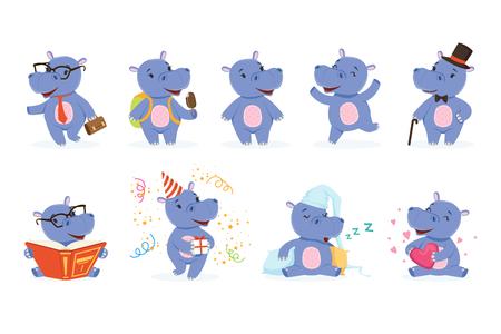 Ilustración de Cute baby behemoth character in action. Happy, intelligent, walking, jumping, reading, sleeping, playing. Funny vector set of emotion hippo. Cartoon hippopotamus stickers collection in different poses - Imagen libre de derechos
