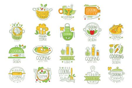 Illustration pour Cooking with love  original design, badge for restaurant or home kitchen hand drawn vector Illustration - image libre de droit