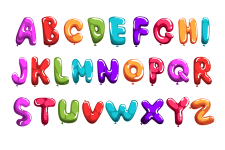 Ilustración de Set of colorful font in balloons form. Children s English alphabet. Letters from A to Z. ABC elements. Education and development. Isolated flat vector design for print, poster, invitation, card, flyer - Imagen libre de derechos