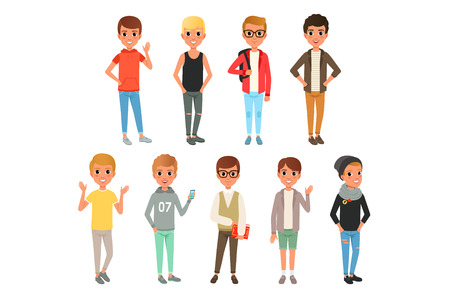 Illustration pour Set of cute boys characters dressed in stylish casual clothing. Kids posing with smiling face expressions. Children wear. Cartoon illustration isolated on white background. Colorful flat vector design - image libre de droit
