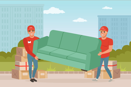 Illustration for Two strong guys carrying sofa. Cartoon couriers characters. Express delivery. Relocation and moving service. Transportation company. City landscape on background. Colorful flat vector illustration. - Royalty Free Image