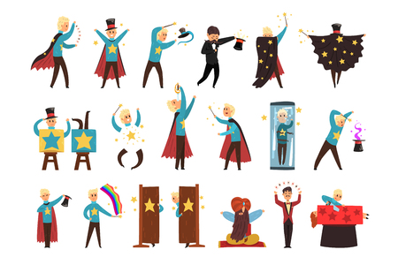 Ilustración de Magician showing tricks and focuses set of vector Illustrations isolated on a white background. - Imagen libre de derechos