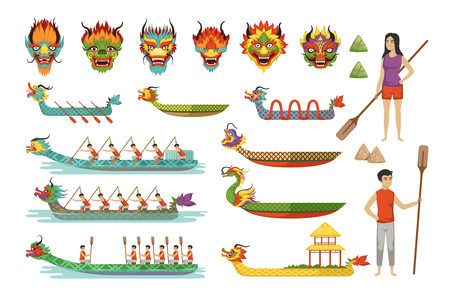 Ilustración de Dragon boats set, team of male athletes compete at Dragon Boat Festival vector Illustrations - Imagen libre de derechos
