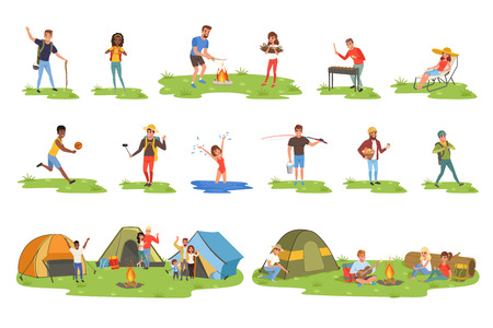 Ilustración de Camper people set, tourists traveling, camping and relaxing vector Illustrations on a white background - Imagen libre de derechos