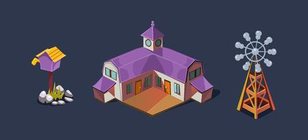 Illustration pour Village farm house and windmill, mobile game user interface GUI element for video computer games vector Illustration, web design - image libre de droit