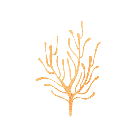 Illustration pour Colorful icon of small branching coral. Ocean plant. Nature and marine fauna. Sea life. Graphic element for book or poster. Flat vector illustration with texture isolated on white background. - image libre de droit
