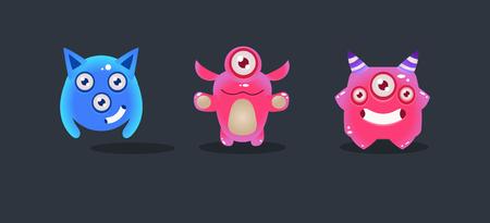 Illustration pour Cute glossy monsters, cartoon colorful aliens, game user interface element for video computer games vector Illustration, web design - image libre de droit